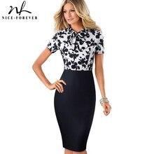 Ładny zawsze elegancki kwiatowy Patchwork biznes skręcić w dół kołnierz vestidos formalny, do pracy sukienka biurowa Bodycon kobiety damska sukienka B535