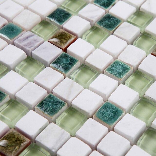 New Fresh White Stone Green Crystal Glass Ceramic Mosaic Tile For - Bathroom tile showrooms near me