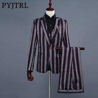 PYJTRL Marka erkek Üç Parçalı Şerit Groomsmen Düğün Yemeği Takımları Slim Fit Giyim 3 Adet Takım Elbise Kostüm Homme Smokin Suit erkekler