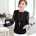 New 2016 Autumn female blouses long-sleeved shirt lace patchwork Women Tops elegant plus size women shirts blusas femininas
