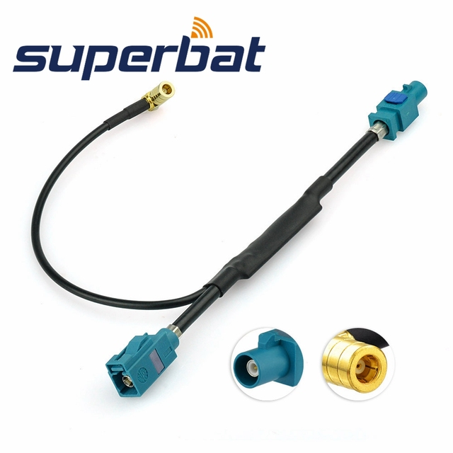 Superbat Universal Fakra Male Plug to Jack Female Aerial Antenna DAB + Splitter Adapter SMB Car Radio