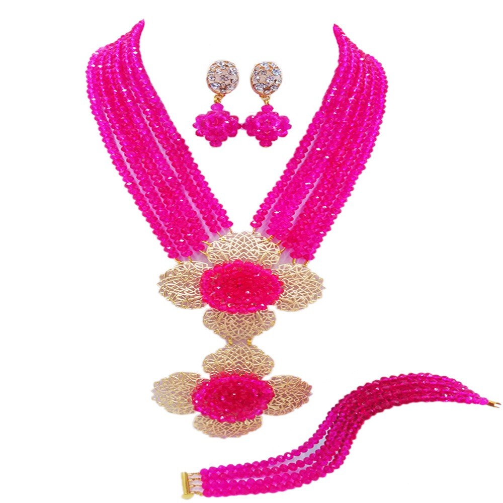 Fashion Hot Pink Multi Strands Statement Necklace Nigerian Wedding African Beads Jewelry Set Crystal 5-LDH08