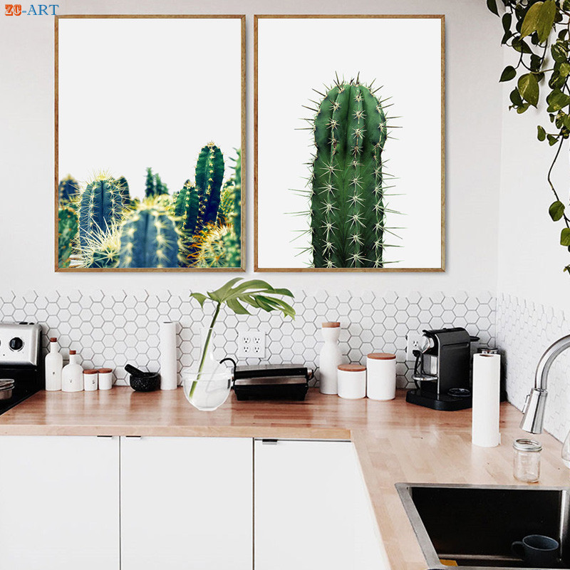 US $3.5 41% OFF|Cactus Posters Botanical Prints Succulent Canvas Painting  Modern Wall Art Kitchen Decoration Pictures Wall Decor Unframed-in Painting  ...
