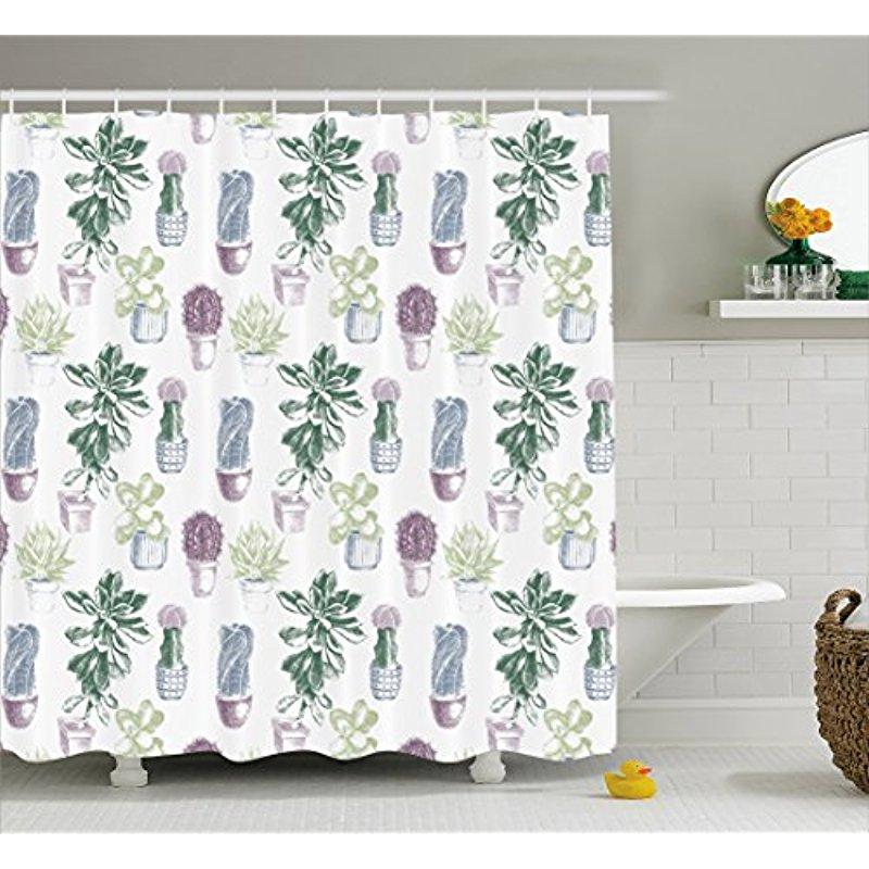 Vixm Cactus Shower Curtain Mexican Local Plants Succulents Indigenous Foliage In Flowerpots Domestic Flora Art Bath Curtains
