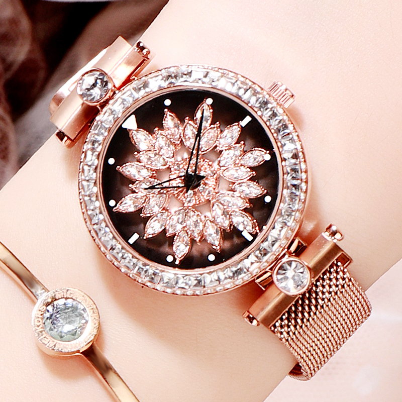 Rotate Luxury Ladies Watch Stainless Steel Crystal Diamond Women Watches Rose Gold Waterproof Clock montre femme
