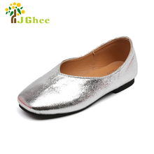 J Ghee PU Shiny Bright Skin Leather Girls Shoes Kids Shoes Simple Classic Dance Party Wedding Children Flat Loafers Sneakers(China)
