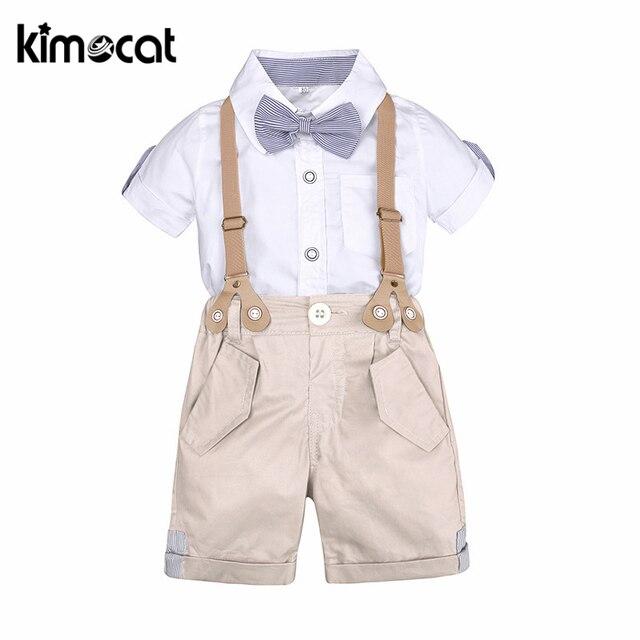 Kimocat/Летняя одежда для маленьких мальчиков Комплекты одежды для мальчиков рубашка джентльмена из 2 предметов + комбинезон праздничная одежда на крестины Подарочная одежда