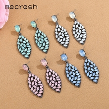 Mecresh Marquise Crystal Vintage Dangle Earrings Fashion Jewelry Ethnic Indian Pink Blue Green Leaf Women Drop MEH1464