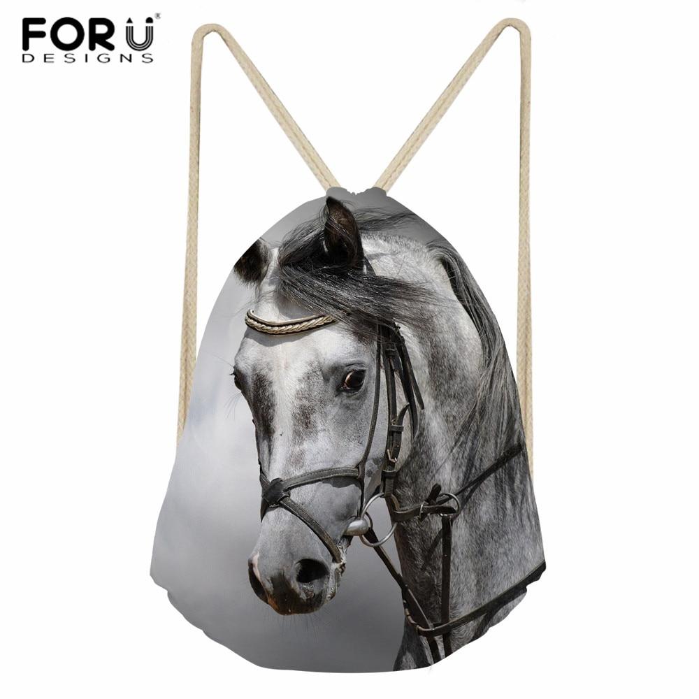 FORUDESIGNS Crazy Horse Bag Adults Male Daily Drawstring Backpack Animal Print Softback Bag For Children School Drawstring Bag