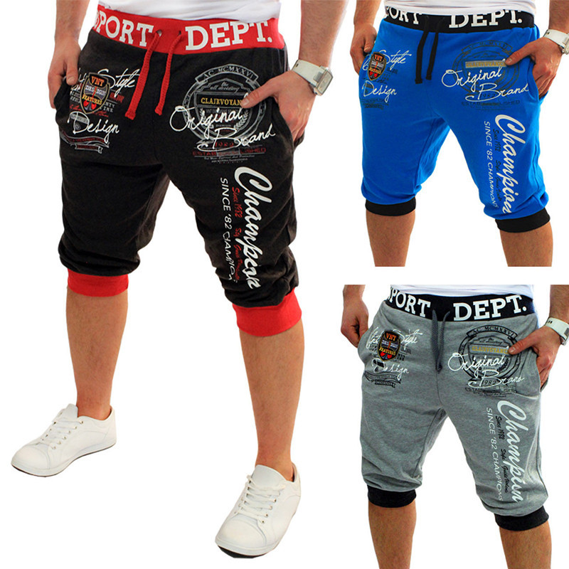 ZOGAA Summer Men Casual Shorts Boys Knit Length Letter Printed Sweatpants Male Loose Workout Jogger Fitness Streetwear 2019 New