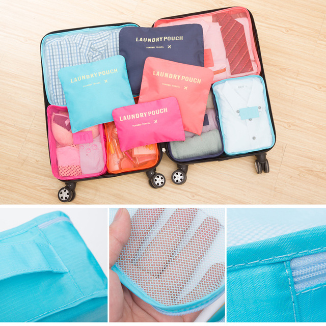 6PCs/Set Travel  Bag Clothes Tidy Pouch Luggage Organizer Portable Container Waterproof  Case Cosmetic bag Cosmetic Bags
