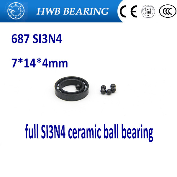 Free shipping 687 full SI3N4 ceramic deep groove ball bearing 7x14x3.5mm for bicycle part hubs free shipping mini ceramic ball bearing zro2 687 7x14x5mm 618 7