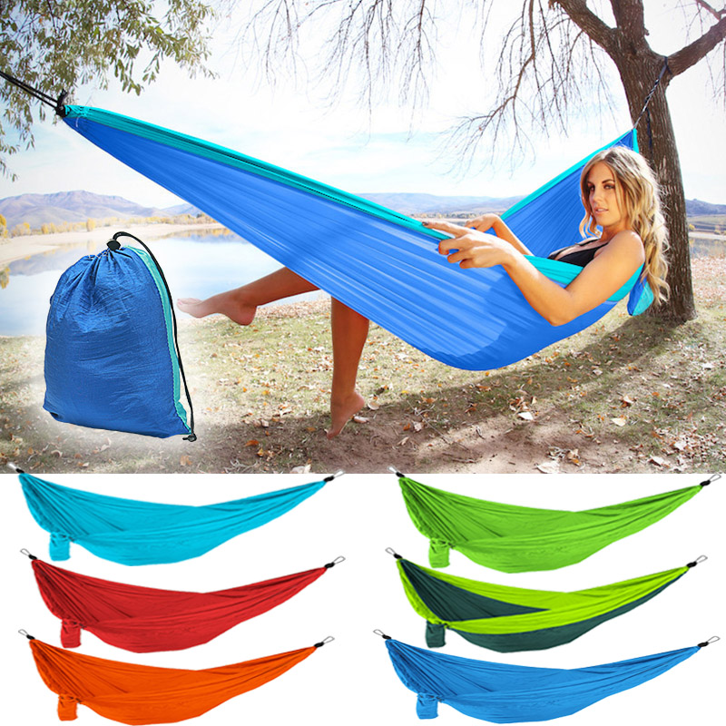 Profession 7 Colors Carrying Nylon Cloth Parachute Hammock Garden Camping Survival Hunting Leisure Travel Hammock Double 270*140 Camp Sleeping Gear