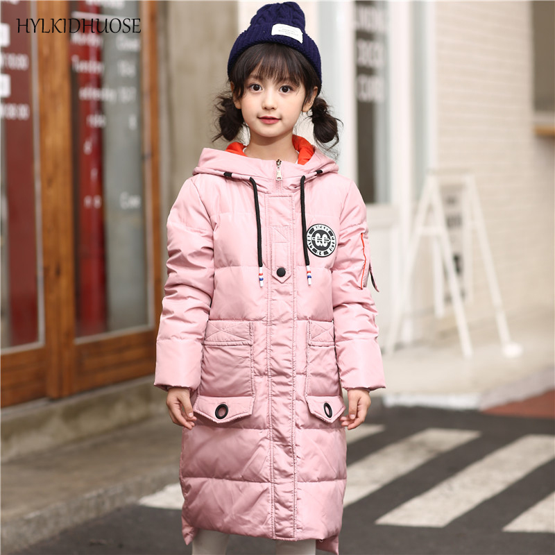 HYLKIDHUOSE 2017 Winter Girls Down Coats Children Snow Jackets Outdoor Windproof Kids Long Outerwear Warm Thick Student Parkas 2017 new baby girls boys winter coats jacket children down outerwear warm thick outdoor kids fur collar snow proof coat parkas