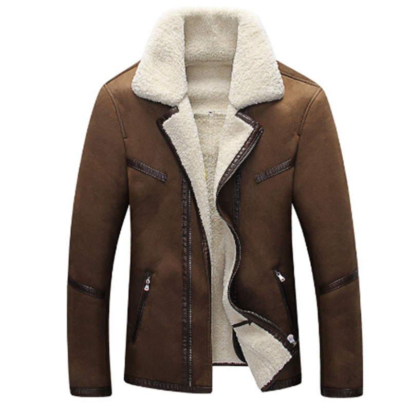 2017 Mens Fur Leather Jacket Overcoats New Formal Fur Streetwear Plus Size 4XL Western Country
