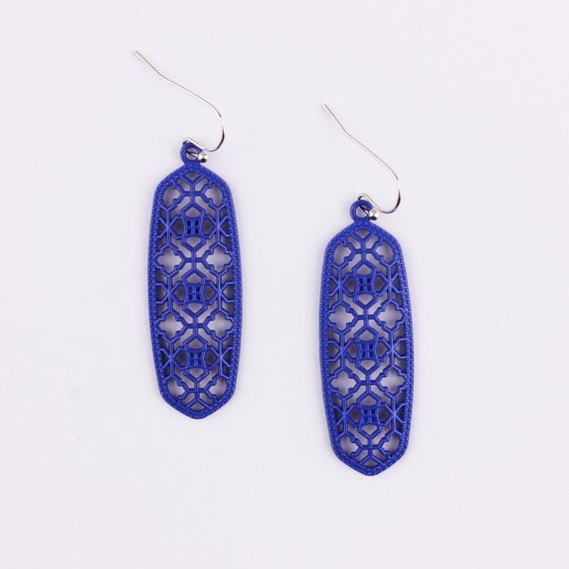 4 цвета,, хит, бренд, дизайнерские, вдохновленные, выдолбленные Висячие серьги-капли для женщин, серьги-капли с монограммой - Окраска металла: E2746 Royal Blue