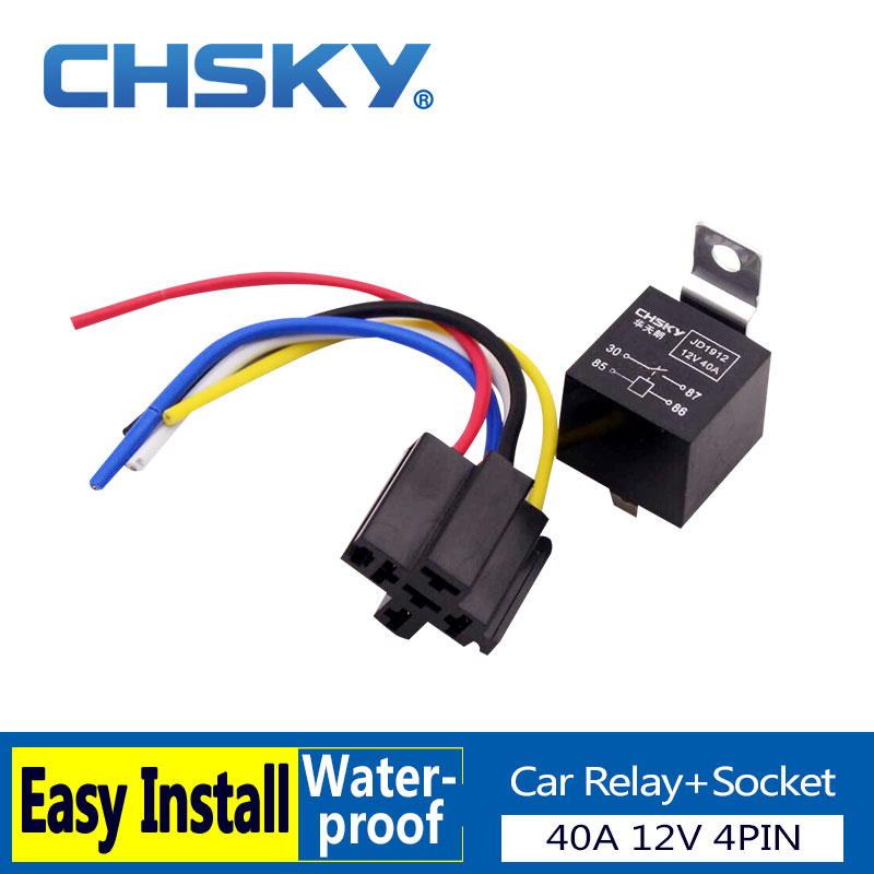 CHSKY 1 piece 4 pin relay 12V with high quality relay socket fit car horn for passat b6 for audi a4 b6 for golf 5