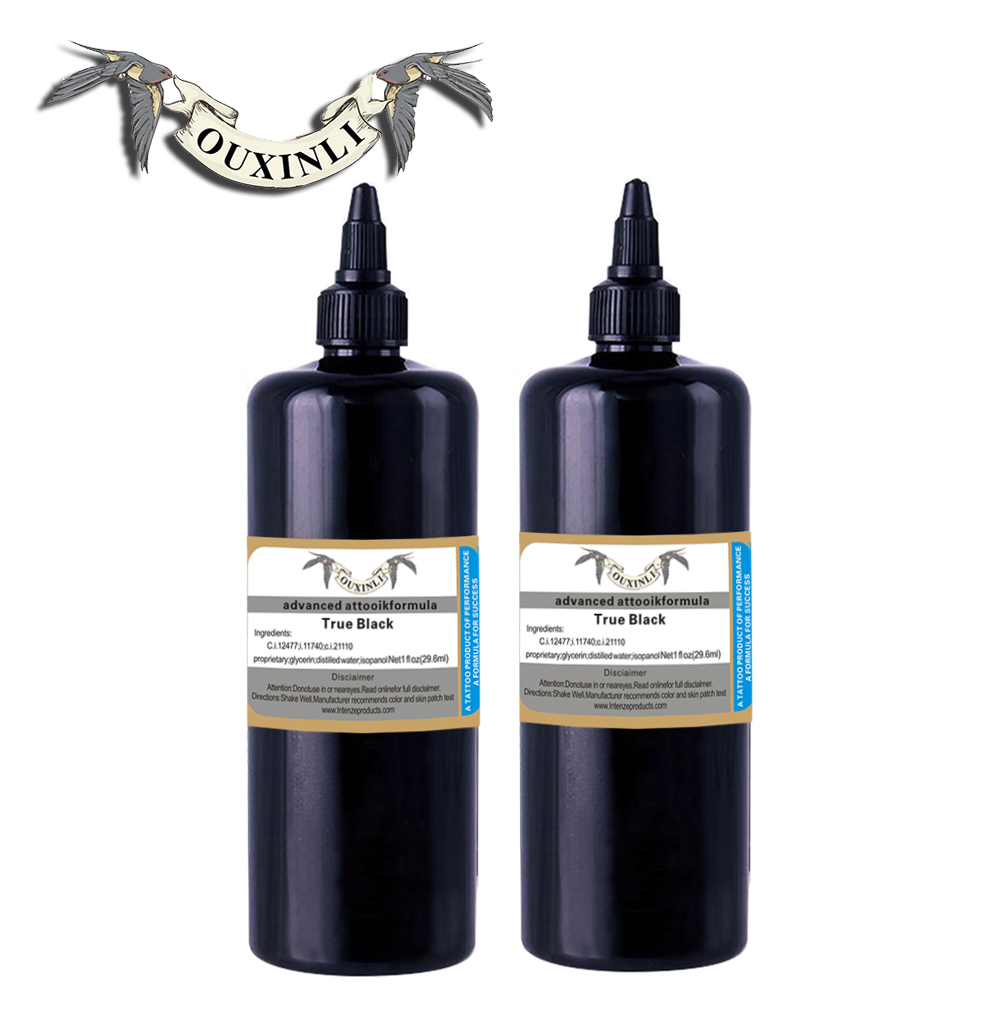 2 pieces of 12OZ black permanent tattoo ink pigment 360ml2 pieces of 12OZ black permanent tattoo ink pigment 360ml