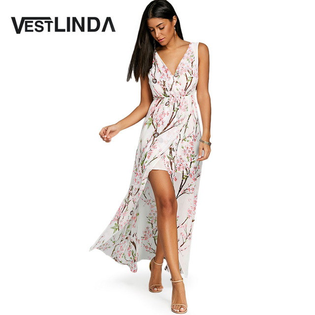 ffd4071dca7 VESTLINDA V-Neck High Slit Floral Chiffon Flowy Dress Women Summer Elegant  Sleeveless High-Low Floor-Length Dress Casual Dresses