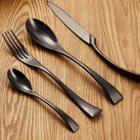 Free shipping Western food (24pcs/set)black gold stainless steel cutlery set dinner fork knife spoon flatware sets dinnerware