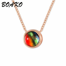 BOAKO Crystal Round Small Pendant Necklace Multicolor Stone Rose Gold Chain Choker for Women Girls Gift Fashion Jewelry