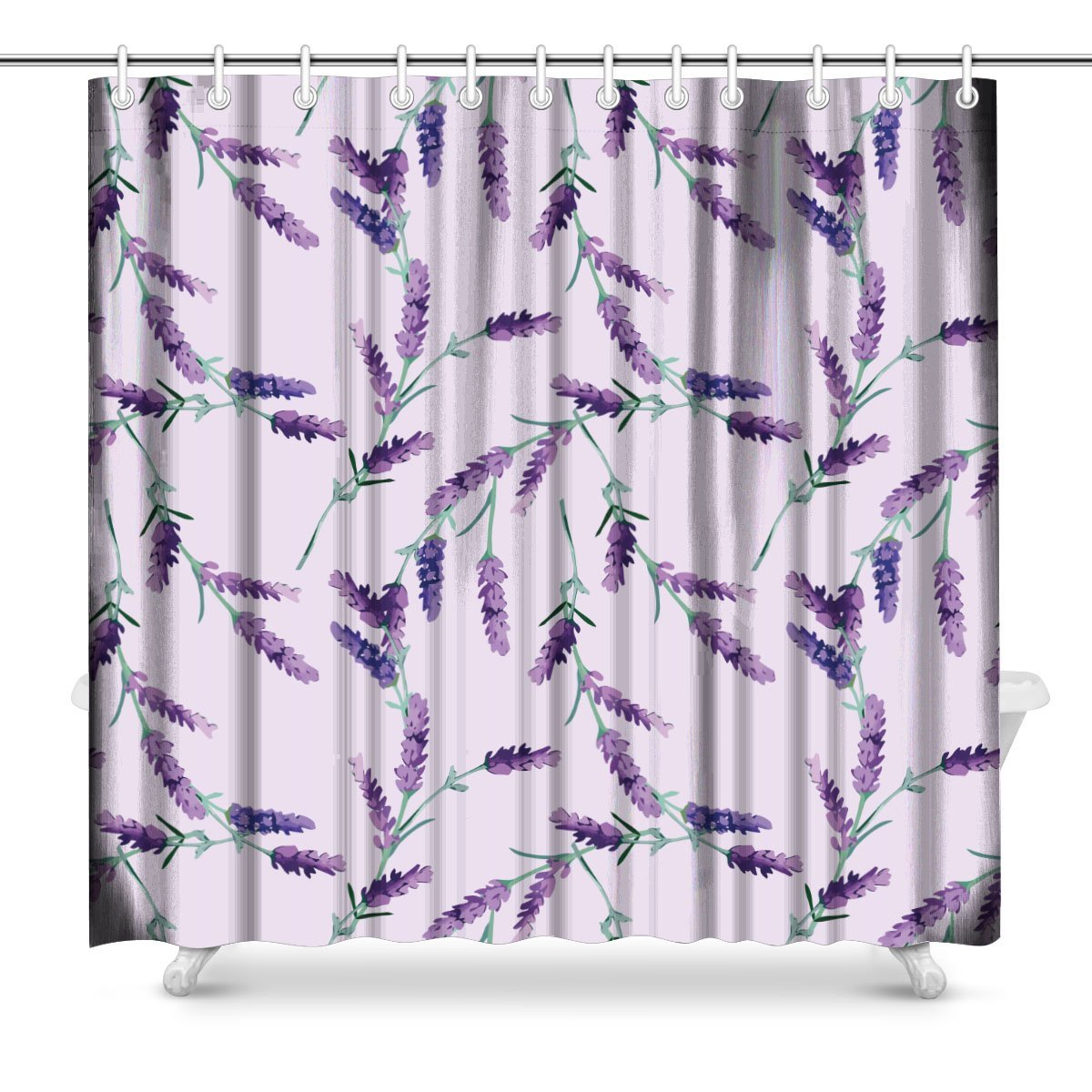Us 11 67 68 Off Aplysia Lavender Polyester Fabric Bathroom Shower Curtain Set 72 Inches In Shower Curtains From Home Garden On Aliexpress