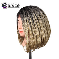 14 inch Short Wigs Crochet Braided Box Braids Synthetic Lace Front Wigs Bob Hairstyle American Afro Box Braiding Wigs For Women