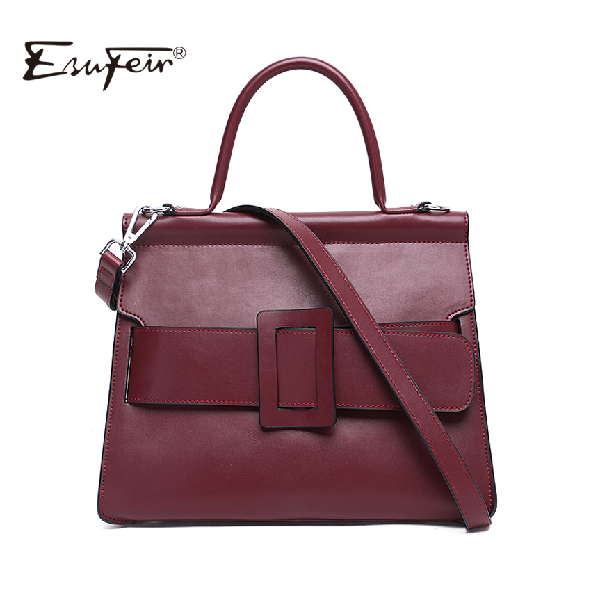 2018 ESUFEIR Brand Genuine Leather Women Handbag Solid Soft Cow Leather Shoulder Bag Famous Fashion Design Top Handle Women Bag esufeir brand genuine leather women handbag cross pattern cow leather shoulder bag fashion design top handle trapeze women bag