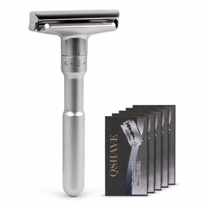 Image 3 - QSHAVE Adjustable Safety Razor Double Edge Classic Mens Shaving Mild to Aggressive 1 6 File Hair Removal Shaver it with 5 Blades