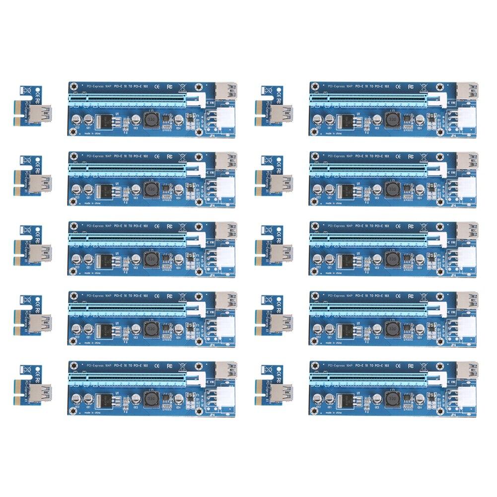 10 шт./лот обновлен Pci-e 1X к 16X Express Riser Card Pci Extender 60 см USB3.0 кабель 6 Шпильки SATA Мощность для Bitcoin Miner