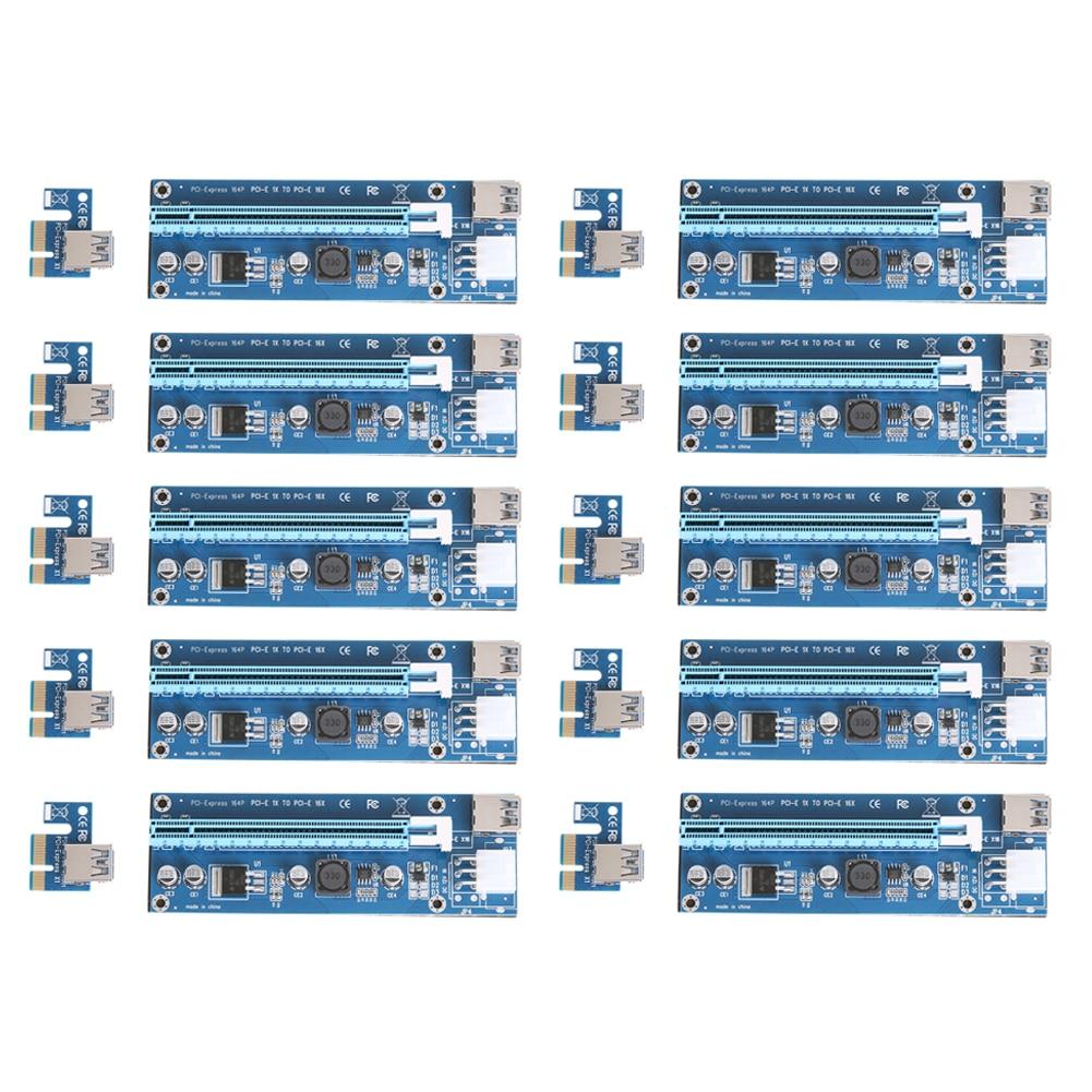 10 pz/lotto Aggiornato PCI-E 1X a 16X Espresso Riser Card PCI Extender 60 cm Cavo USB3.0 6 Pin SATA di Alimentazione per Bitcoin minatore