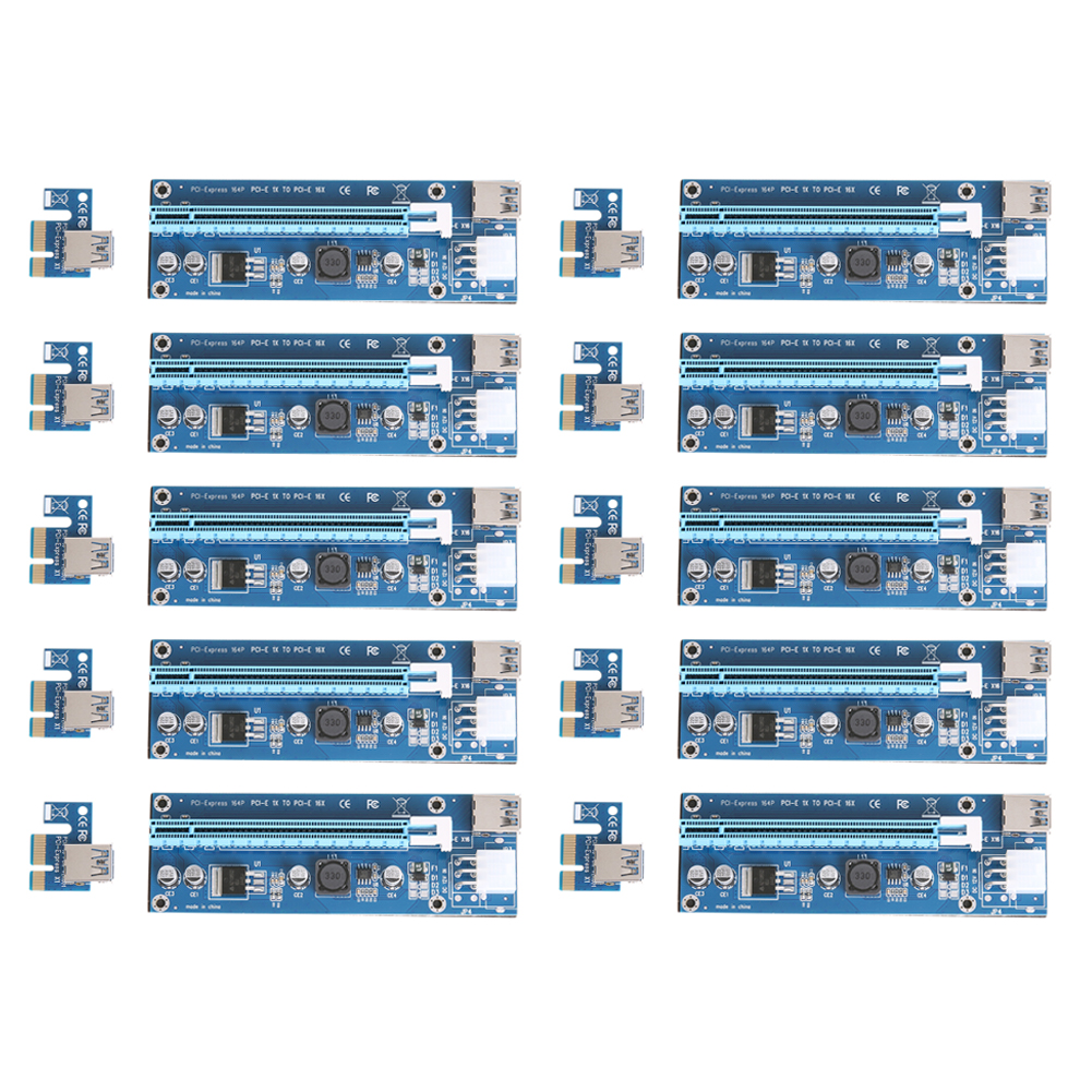 все цены на  10pcs/lot Upgraded PCI-E 1X to 16X Express Riser Card PCI Extender 60cm USB3.0 Cable 6 Pins SATA Power for Bitcoin Miner  онлайн