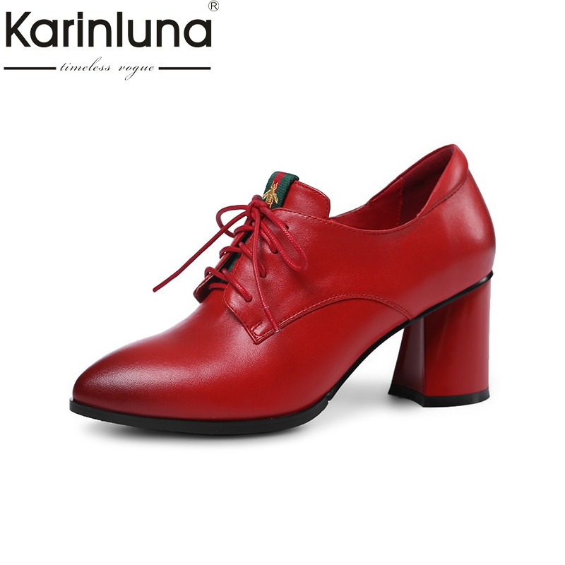 Karinluna 2018 Spring Autumn Brand Solid Genuine Leather Women Pumps Ol High Heels Shoes Woman Mixed Color Size 34-39 2016 new pumps ol style thick high heels women shoes with bowtie pu leather shoes woman for spring 3 colors size 35 39 xwd717