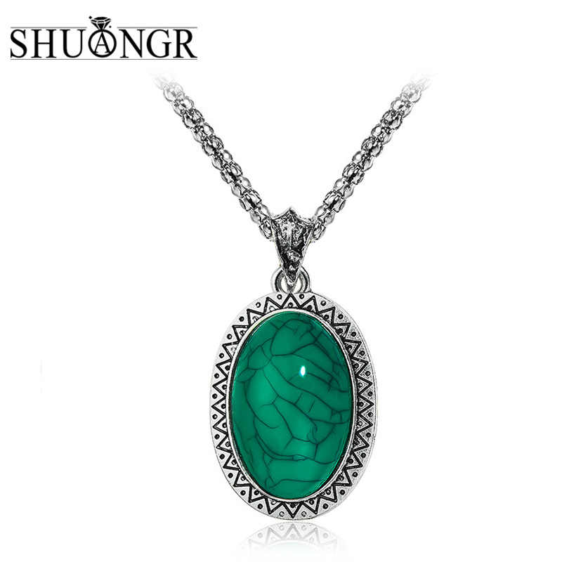 SHUANGR Statement Necklace with Stones Green Oval Round Pendants Silver Color Zinc Alloy Chain Bijoux Jewelry Lover Gifts