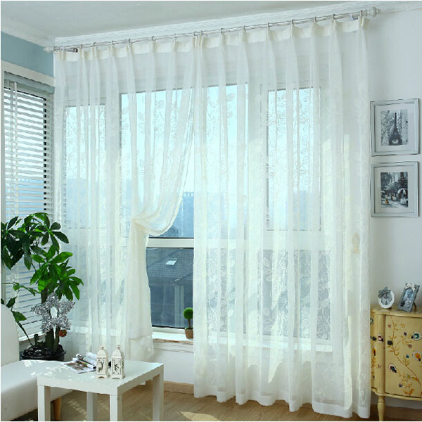 Moda tulle para ventanas de lujo lino deja cortinas transparentes