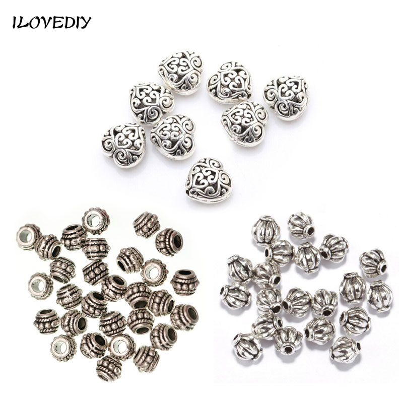 20-100pcs / Lot Charm plateado Charm Loose Bead Round Shape Spacer - Bisutería