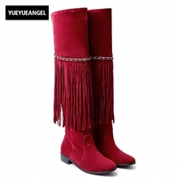 Fringes Tassel Euro Style Pointed Toe Faux Suede Block Heels Chain Motorcycle Thigh Boots Over Knee