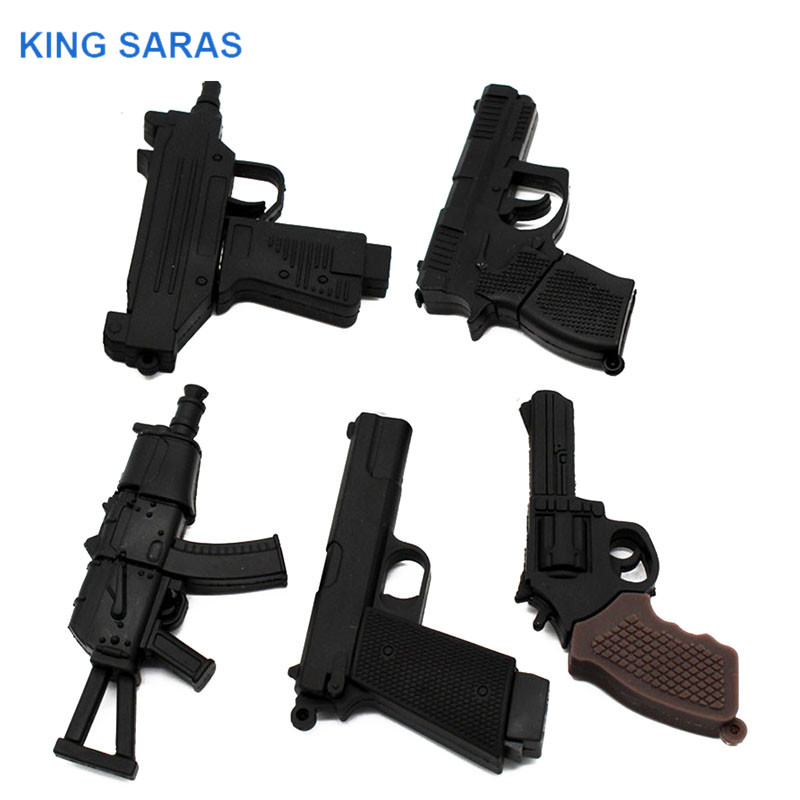 KING SARAS Cartoon 100% Real Pacacity 5 Model Gun Usb Flash Drive Usb 2.0 4GB 8GB 16GB 32GB  Pendrive 64GB Usb2.0