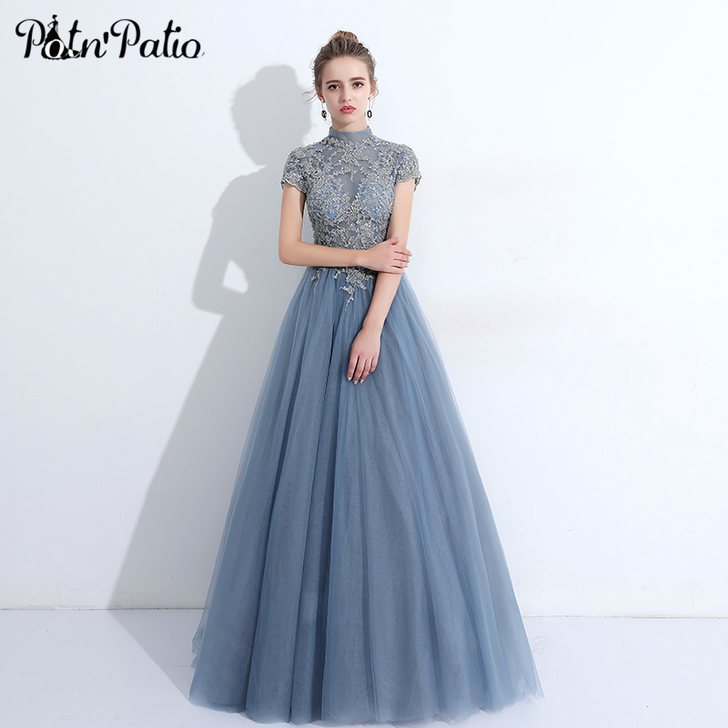 Elegant Turtleneck Long Tulle   Prom     Dress   Vintage Beaded Sequin Lace Applique Ball Gown Formal Gowns New Year Party   Dress   2018