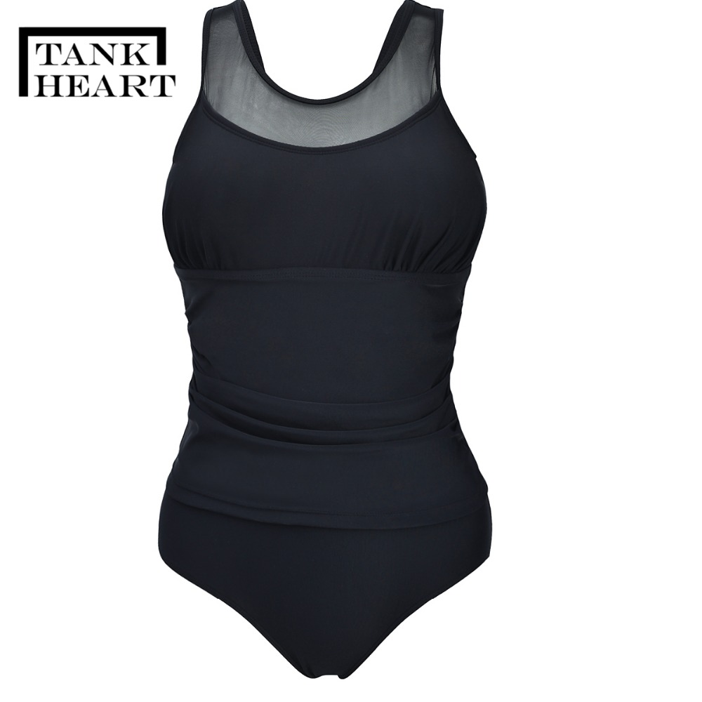 Sexy Black Mesh Monokini Trikini One-Piece Suits Monokini Plus Size Swimwear Sport One Piece Swimsuit Women Badpak Swim Suit 4XL