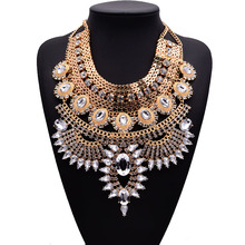 New Fashion Pendant Chain Crystal Choker Chunky Statement Bib Necklaces Long Bohemian Alloy Maxi Necklace Exaggerated Collier