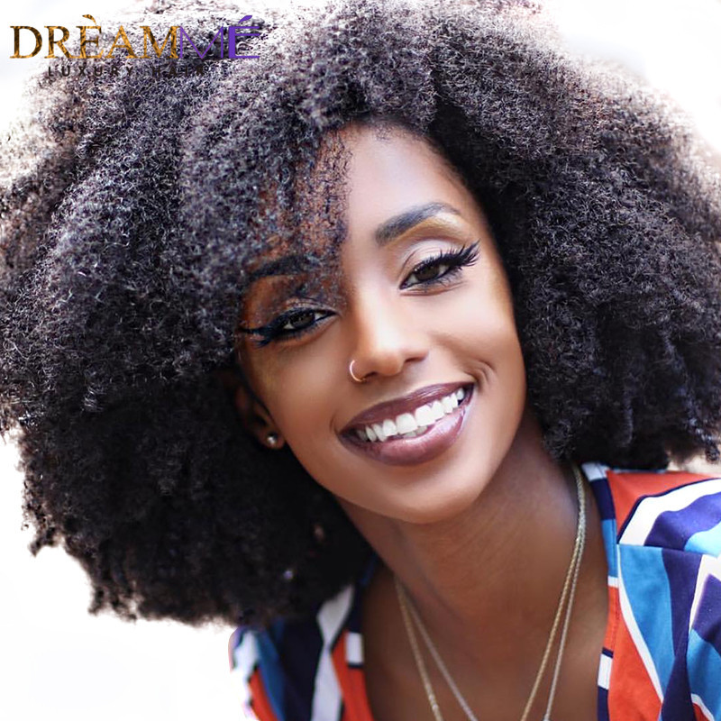 Lace Wigs Hair Extensions & Wigs Brazilian Afro Curly Lace Front Human Hair Wig With Baby Hair Pre plucked 13x6 Curly Wigs For Black Women 100% Remy Dream Me