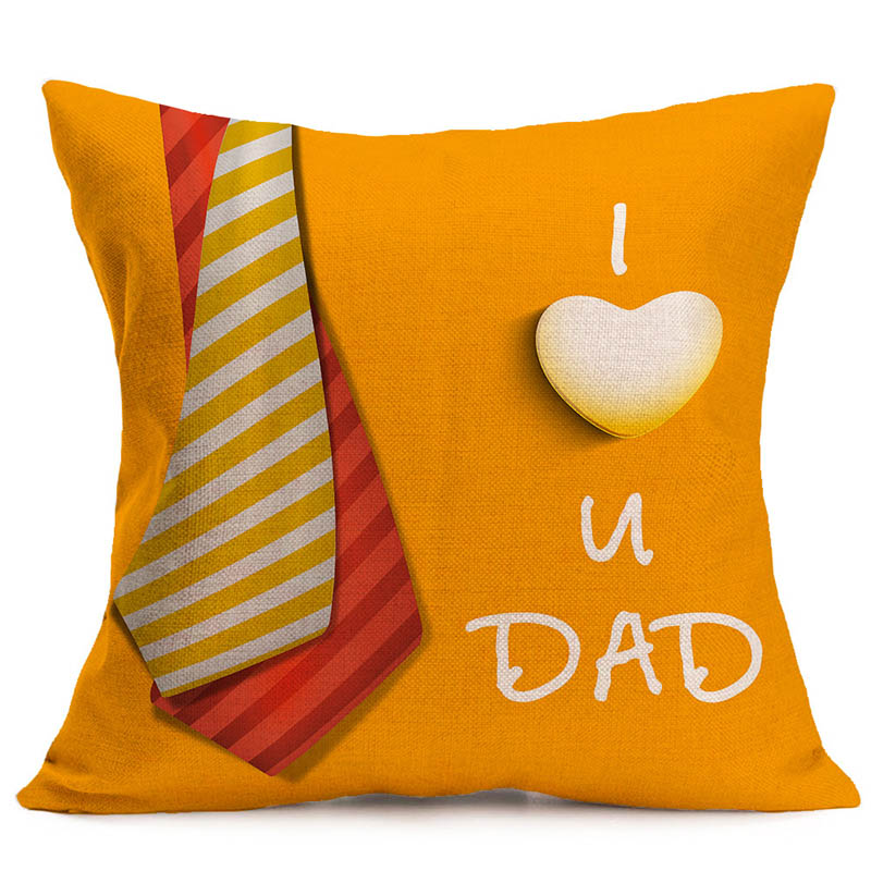 Heureux father day cushion cover european style pillow case thick pillow cover 45*45 cm cojines 3D printing linen pillow