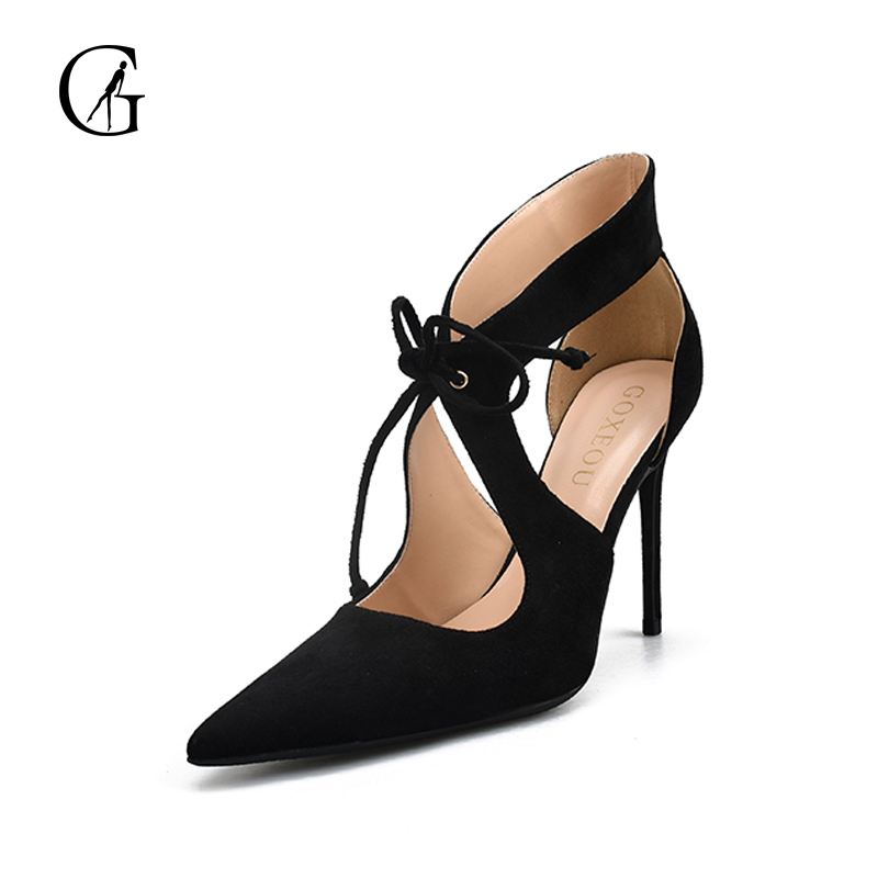 GOXEOU 2018 Women Sandals Thin Heel High Heels Sexy Summer Cross-tied Party Pointed Toe Handmade Plus size Free Shipping top selling 2017 summer sexy women solid black open toe cross lace up gladiator cuts out thin heels high heel sandals party shoe