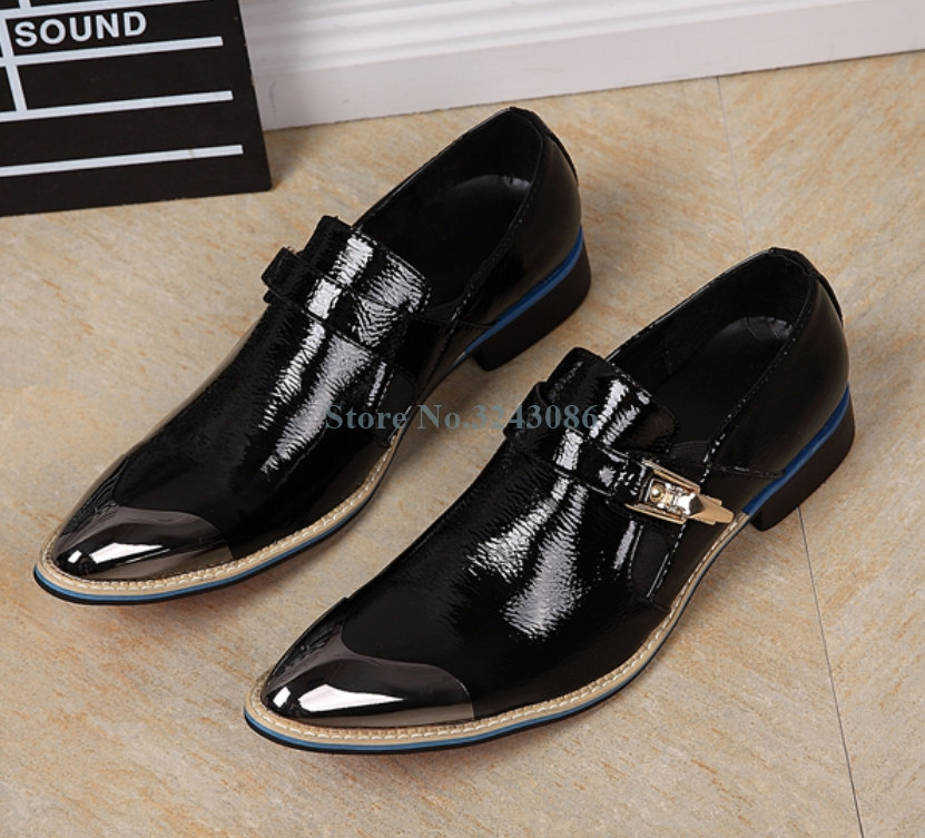Pointed Toe Buckle Strap Flat Mens Shoes Black Patent Leather Gentleman Business Shoes Metal Toe Fashion Banquet Wedding ShoesPointed Toe Buckle Strap Flat Mens Shoes Black Patent Leather Gentleman Business Shoes Metal Toe Fashion Banquet Wedding Shoes