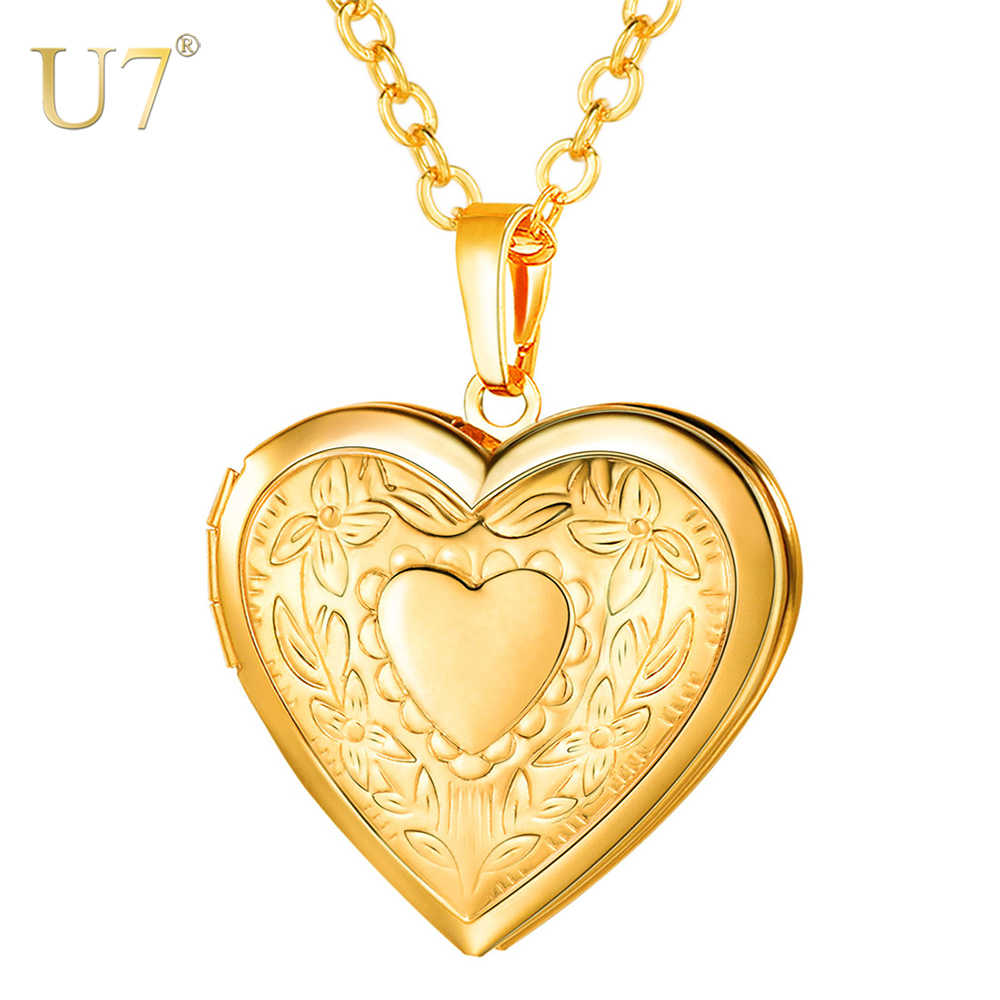 U7 Floating Heart Locket Necklace Pendant Women Jewelry Bridesmaid Mother's Day Gift Vintage Photo Necklace Minimalist P318