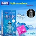 12 piezas de hielo estilo demora condón Spike condones para hombres de Punto G de pene lubricado extensor de pene de sexo para adultos productos