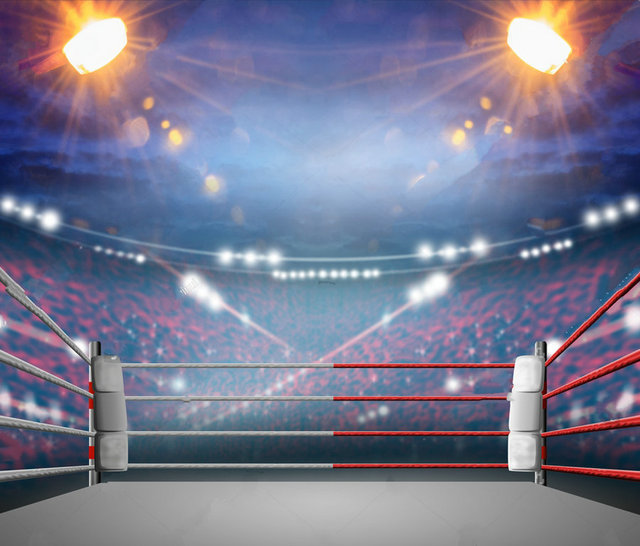 Boxing Ring With Illumination By Spotlights Background