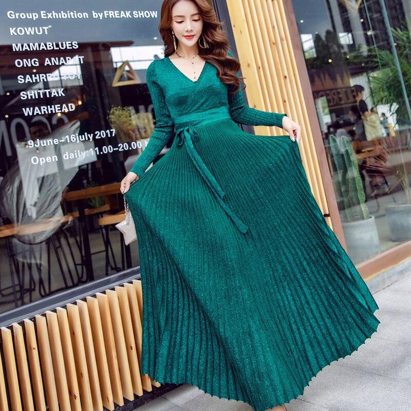 Hiver femme robe 2019 chaud sexy slim robe de soirée à manches longues col en v robe en tricot grande balançoire plissée ceinture longue robe femmes - 6