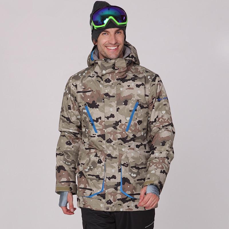 Uomini giacca invernale di sci NEVE GSOU camo giacche da snowboard uomini caldi antivento termico veste de ski homme
